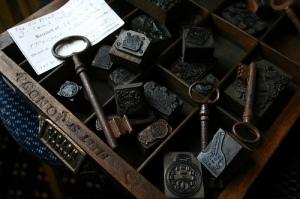 Type Case, Antique Keys, Wooden/Metal Types