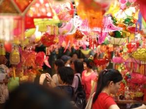 Street full of lanterns
