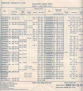 SAL 1957 Sailing List