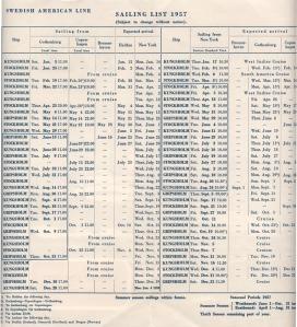 SAL 1957 Sailing List