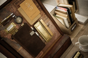 Traveler's Notebook display at Midori's office